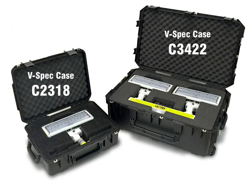 V-Spec cases C2318 and C3422, included with certain Lentry portable LED work lights.