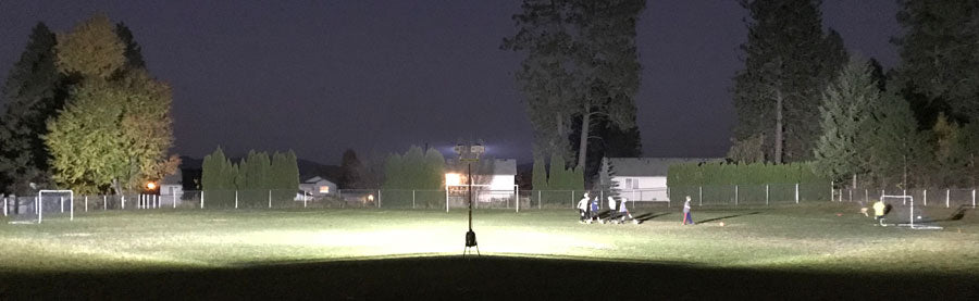 Soccer field lit by a portable LENTRY Light model 2TWSPX-C (same output as 1SPECXX or 2SPECXX)