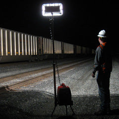 Portable lighting along the railroad