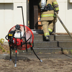 VENTRY Fan in use during positive pressure attack fire training, Kootenai Fire