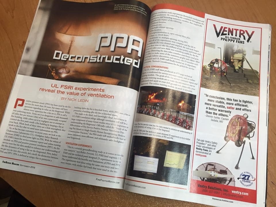 FireRescue magazine article on the value of ventilation in fire fighting
