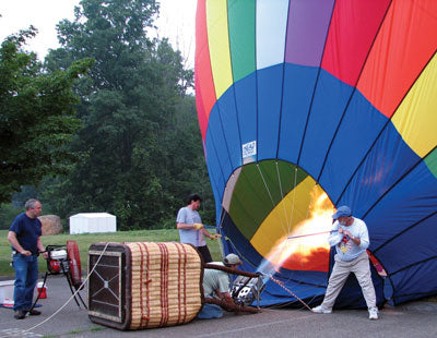 Ventry Fan assists with inflating a hot air balloon