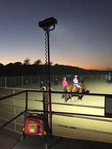 Portable LED, Lentry Model 1STARX, lights the arena of the Therapeutic Riding Center of Huntington Beach (CA). This light emits 20,000 lumens using only 240 watts. Photo courtesy TRCHB.