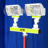 2-Headed Optup halogen light head, close-up view