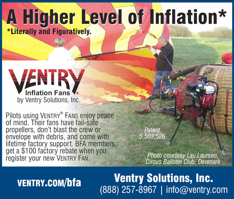 2017 Ballooning magazine ad for Ventry® Inflation Fans