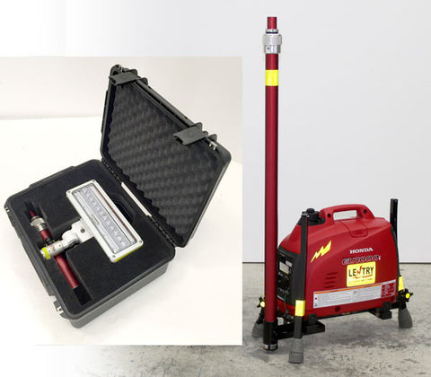 1SPECX+S-C includes one LED, 2 telescopic poles, and a case to hold the LED