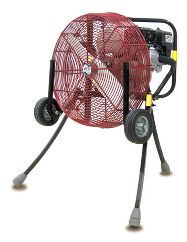 Ventry 20-inch PPV Fan with Medium Flat-Free Wheels & Skids and its legs extended (model 20GX120).