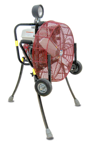 VENTRY 20GX160 20-inch PPV fan with Medium Flat-Free Wheels & Skids, top light, and legs extended.