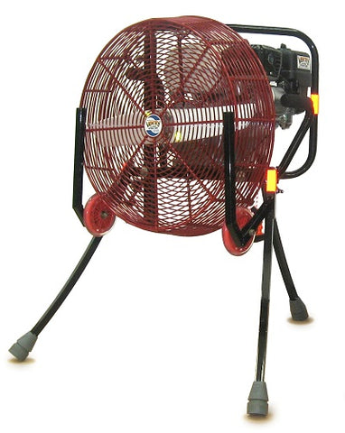 Ventry 20-inch PPV Fan with Solid Rubber Wheels & Skids and its legs extended (model 20GX120).