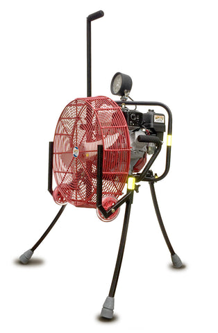 20GX160 ppv fan shown with optional LED and solid rubber wheels & skids and with legs extended.