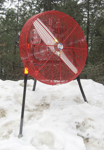 A base model 24-inch VENTRY PPV Fan standing in snow.