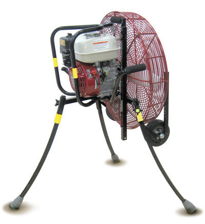 24-inch Ventry PPV Fan 24GX120 with Medium Flat-Free Wheels & Skids and legs extended.