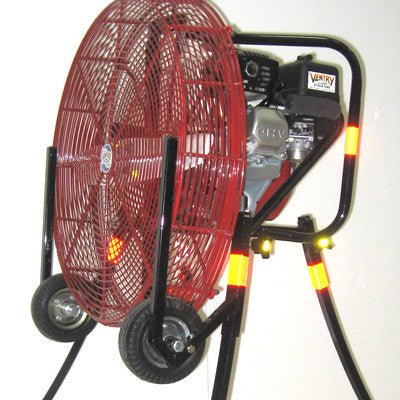 Close up view of 24-inch PPV Fan with Medium Flat Free Tires and Skids.