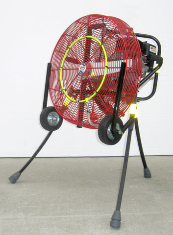 VENTRY 24-inch PPV Fan with Medium Flat-Free Wheels & Skids and Misting Ring Kit