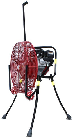 24-inch Ventry PPV Fan with Solid Rubber Wheels & Skids, legs extended, facing left