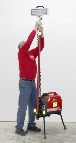Hi-Lite Lentry Model 2SPECH with legs extended but LED light not raised. Ken is 6 feet tall!
