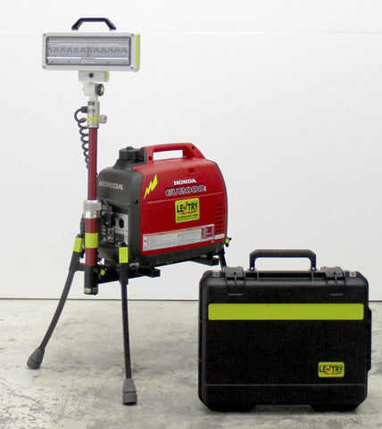 2SPECS-C portable Lentry LED, powered by the Honda EU2200i generator, with case for the light, with legs and pole extended