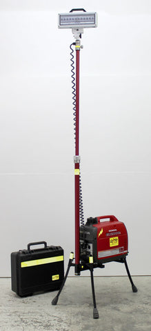 Extra Tall LED LENTRY model 2SPECX-C with case for LED light head. Shown with legs and pole extended.