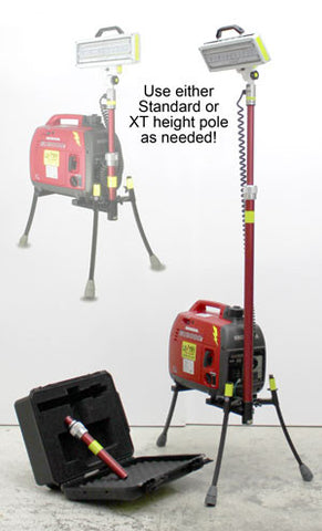 With 2SPECX+S-C, choose either height pole. Honda EU2200i generator included.