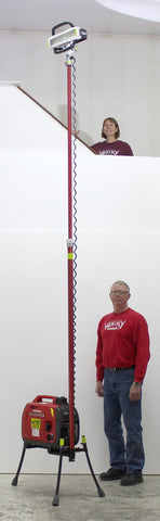 Hi-Lite LENTRY Light Towers are over 6 feet tall without extending the light and 13-feet tell fully extended. Model 2STARH shown.