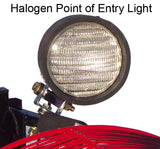 Close-up of halogen POE light on top of Ventry PPV Fan