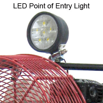 Close-up of LED POE light on top of Ventry PPV Fan