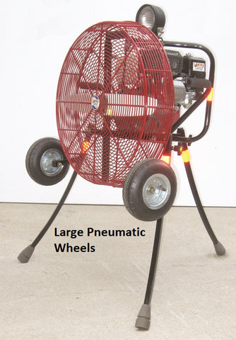 Large Pneumatic Tires on a 24-inch Ventry Fan