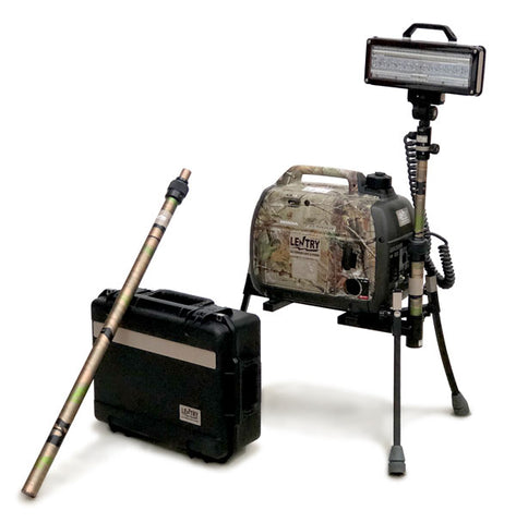 Camouflage version 3-legged Lentry portable safety light, LED, short pole installed, LED case and long pole to the side
