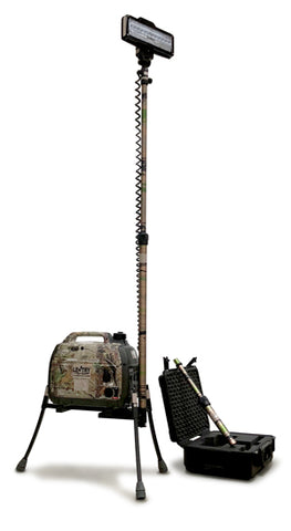 Camo LED with Legs and tall pole with LED case and short pole to the side