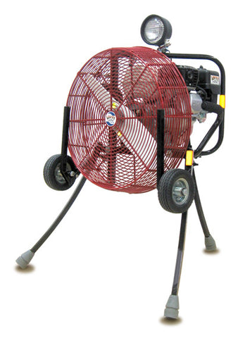 Ventry 20-inch PPV Fan with Medium Flat-Free Wheels & Skids, top light, and its legs extended (model 20GX160).