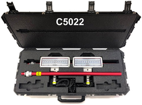 Lentry V-Spec Case C5022, open, with two V-Spec LEDs and two XT poles inside