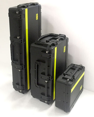 All 3 V-Spec LED cases, standing upright, for Lentry Lights with V-Spec LEDs