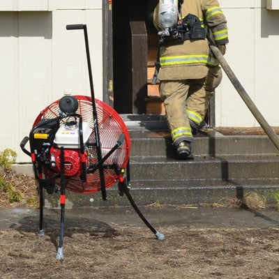 24-inch VENTRY Fan during PPA/PPV training, aiming over the stairs and into the raised door