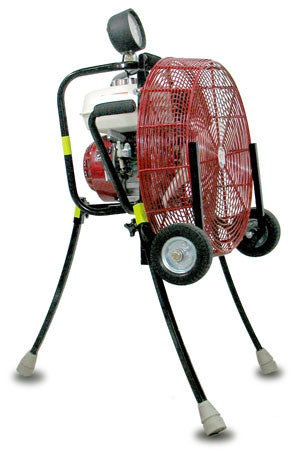 VENTRY Positive Pressure Ventilation Fan 20GX160 with legs extended, ready for ventilation or attack