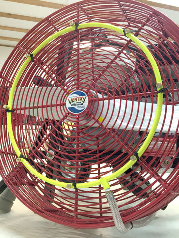 Ventry brand Cooling Misting Ring Kit with Filter, installed on a 20-inch ppv fan