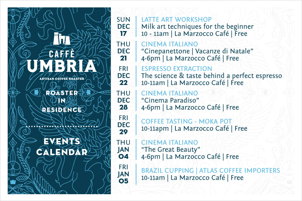 La Marzocco Roaster in Residence Events during December 2017 & January 2018