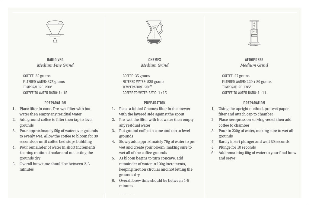 Kenya Gatuyaini coffee brewing guide with recipes for hario, chemex and aerorpress