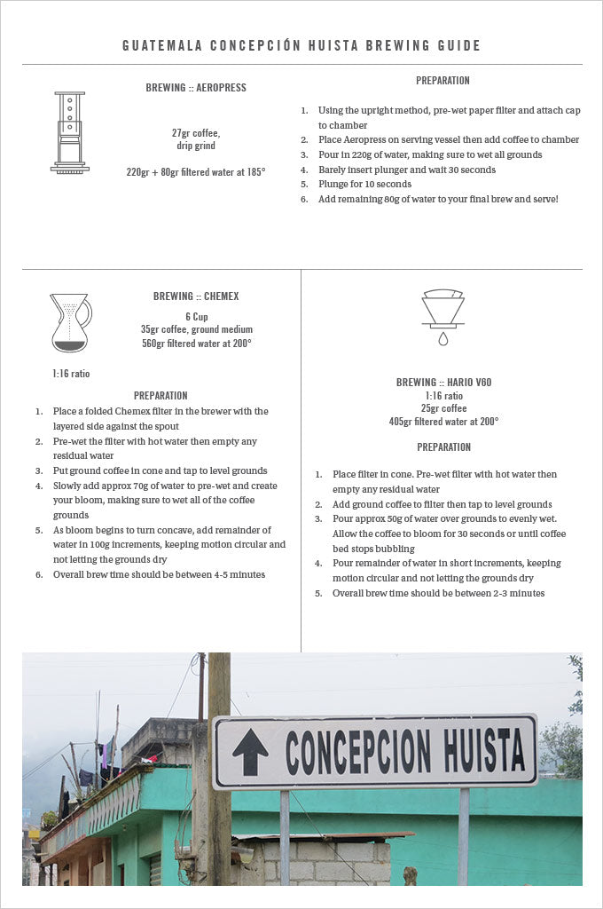 Guatemala Conceptcion Huista coffee brewing guide with recipes for aerorpress, chemex and hario v60