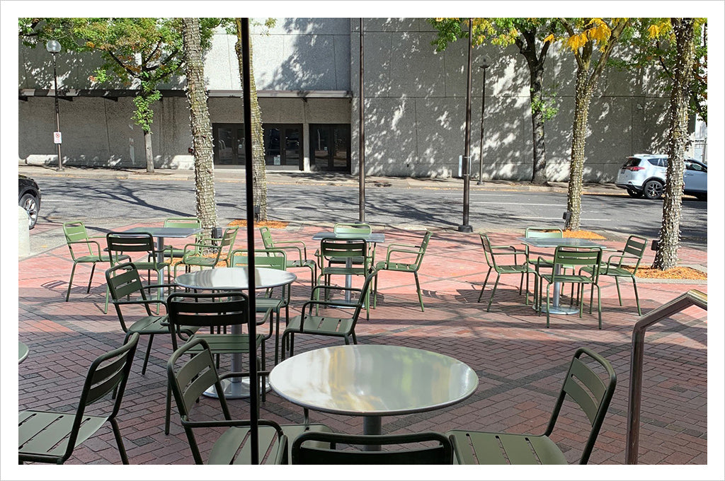 Outside seating area at Umbria Coffee Roasters Market Street cafe