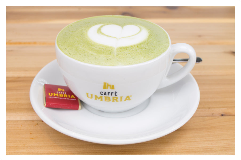 Hot Matcha Latte, available at all Caffè Umbria cafés