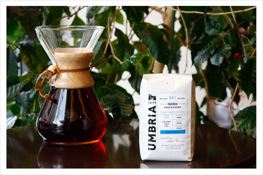 Rwanda Hingakawa Light Roast Single Origin brewed with Chemex