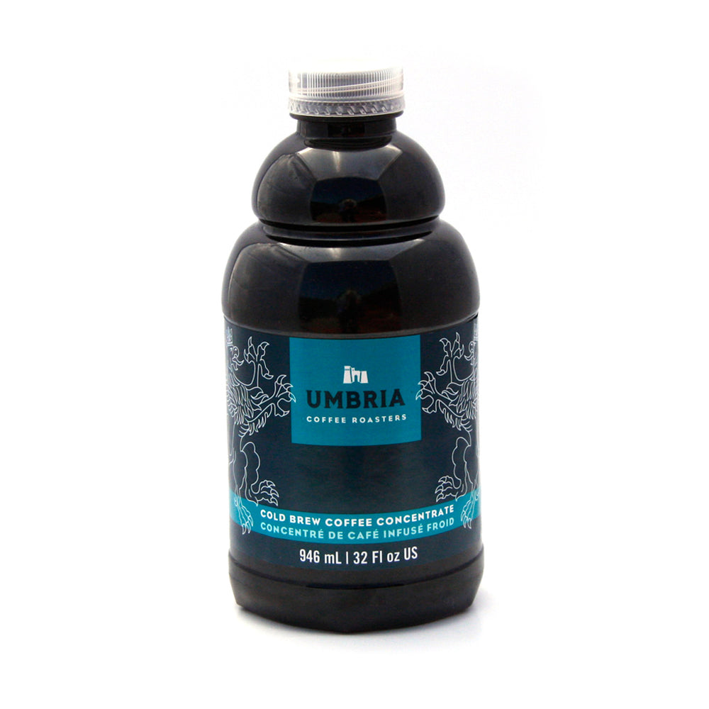 plastic bottle of coffee concentrate with blue and turquoise label