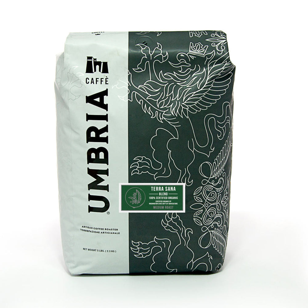 white and grey large coffee bag with green terra sana medium roast label