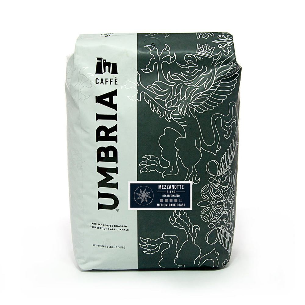 white and grey coffee bag with silver design and blue mezzanotte decaf sticker