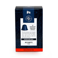 blue nespresso capsule box back view mezzanotte decaf