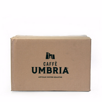 cardboard shipping box with black caffe umbria logo