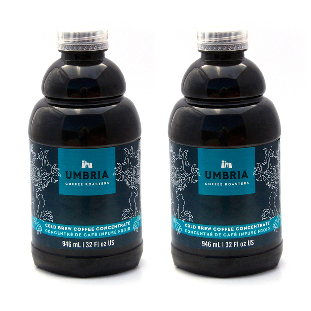 two bottles of coffee concentrate with blue and turquoise label