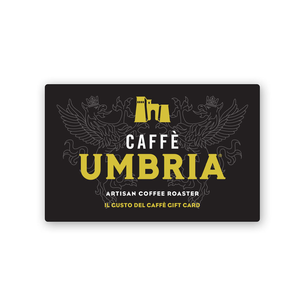black plastic cafe gift card with yellow and white caffe umbria logo