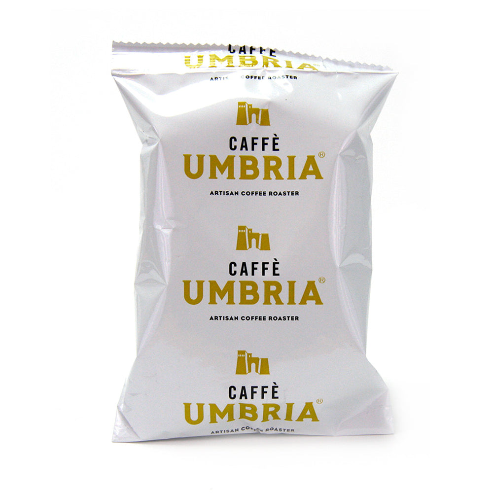 white pouch with yellow and black caffe umbria logo