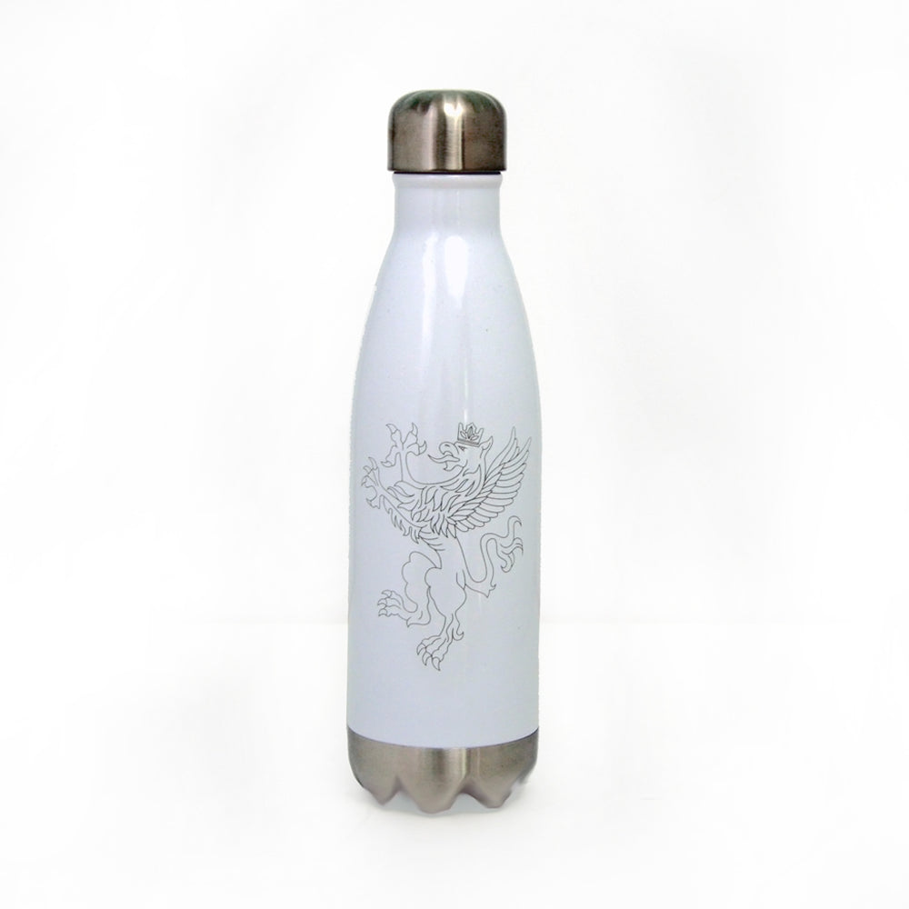 white and silver stainless steel water bottle with griffen logo